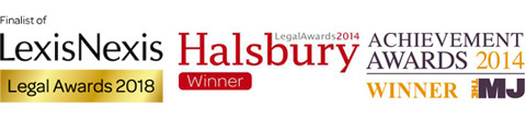 Lexis Nexis Legal Awards 2018 Finalist. Halsbury Legal Awards 2014 Winner. The MJ Achiievement Awards 2014 - Winner.